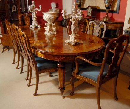 table 8 chairs. 8 foot italian marquetry dining table queen anne chairs n